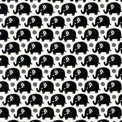 Michael Miller - Elephants (Black/White) Fabric